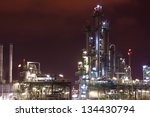petrochemical plant in night... | Shutterstock . vector #134430794