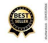 ribbon award best seller. gold...   Shutterstock . vector #1344314066
