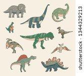 dinosaur cartoon vector... | Shutterstock .eps vector #1344329213