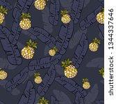 the leaves of banana palm trees ... | Shutterstock .eps vector #1344337646