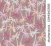 coconut palm tree pattern... | Shutterstock .eps vector #1344342500