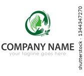 leaf logo template | Shutterstock .eps vector #1344347270