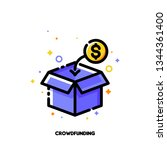 icon of open box collecting... | Shutterstock .eps vector #1344361400