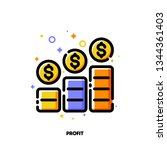 icon of income growth chart or... | Shutterstock .eps vector #1344361403