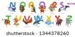 zoo alphabet. funny animals  3d ... | Shutterstock .eps vector #1344378260
