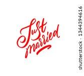 just married hand lettering ... | Shutterstock .eps vector #1344394616