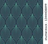 seamless neon blue vintage ogee ... | Shutterstock .eps vector #1344408899