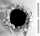dark destruction cracked hole... | Shutterstock . vector #1344434330