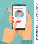 online dating app concept.... | Shutterstock .eps vector #1344434540