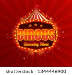 circus banner with retro light... | Shutterstock .eps vector #1344446900