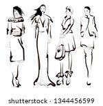 stylish fashion models. pretty...   Shutterstock .eps vector #1344456599