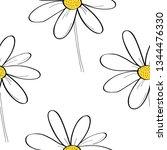 daisy flower vector pattern... | Shutterstock .eps vector #1344476330