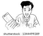 men with mobile phone | Shutterstock .eps vector #1344499289