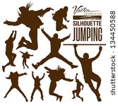 silhouette people jumping... | Shutterstock .eps vector #134450588