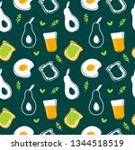 avocado fried egg toast and...   Shutterstock .eps vector #1344518519