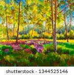 original oil painting sunny... | Shutterstock . vector #1344525146