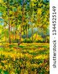 original oil painting sunny... | Shutterstock . vector #1344525149