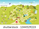 funny maze for children. help... | Shutterstock .eps vector #1344529223