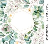 watercolor green illustration... | Shutterstock . vector #1344534443