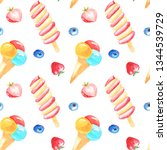 seamless pattern delicious ice... | Shutterstock . vector #1344539729