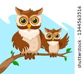 Stock vector owl and her baby owls sitting on a branch 1344563516