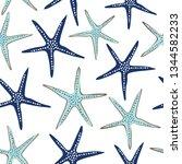 coastal  nautical starfish... | Shutterstock .eps vector #1344582233