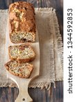 loaf of banana bread on the... | Shutterstock . vector #1344592853