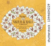 wedding card with floral frame... | Shutterstock .eps vector #1344604229
