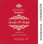classic wedding card with... | Shutterstock .eps vector #1344604259