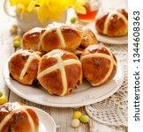 hot cross buns  freshly baked... | Shutterstock . vector #1344608363