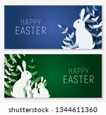 Stock vector  d abstract paper cut banner of colorful rabbit family grass happy easter greeting card template 1344611360