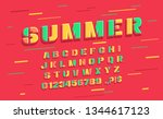 vector summer font and alphabet.... | Shutterstock .eps vector #1344617123