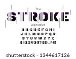 vector techno font and alphabet.... | Shutterstock .eps vector #1344617126