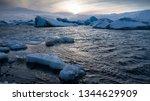 sundown in the glacier lagoon... | Shutterstock . vector #1344629909