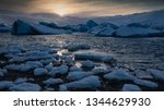sundown in the glacier lagoon... | Shutterstock . vector #1344629930