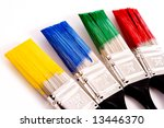 a row of primary colored paint... | Shutterstock . vector #13446370