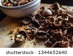 the shell of walnuts  clean of... | Shutterstock . vector #1344652640