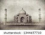 vintage image of taj mahal at... | Shutterstock . vector #1344657710