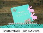 card with an inscription happy... | Shutterstock . vector #1344657926