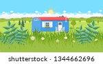 tiny house on wheels...   Shutterstock .eps vector #1344662696