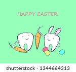 smiling cartoon teeth with... | Shutterstock .eps vector #1344664313