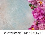 background with pink peonies... | Shutterstock . vector #1344671873