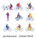 a set of cyclists in a stylized ... | Shutterstock .eps vector #1344673949
