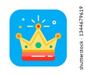 golden crown flat color icon....