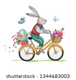 funny rabbit or bunny travels... | Shutterstock . vector #1344683003