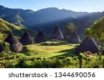 wae rebo village  traditional... | Shutterstock . vector #1344690056