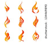 fire flames. collage. | Shutterstock .eps vector #134469890