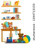 children toy on the shelf... | Shutterstock .eps vector #1344713153