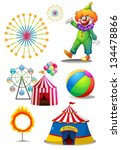 illustration of a clown with... | Shutterstock .eps vector #134478866