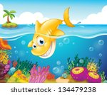 illustration of a yellow shark... | Shutterstock .eps vector #134479238